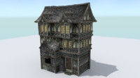 3d house medieval town