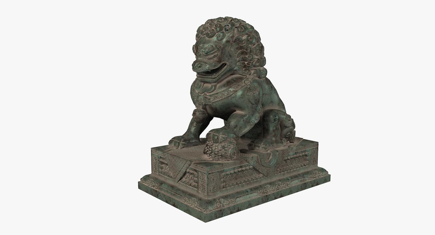 3d model forbidden city lion