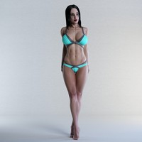rigged fitness female character 3d max