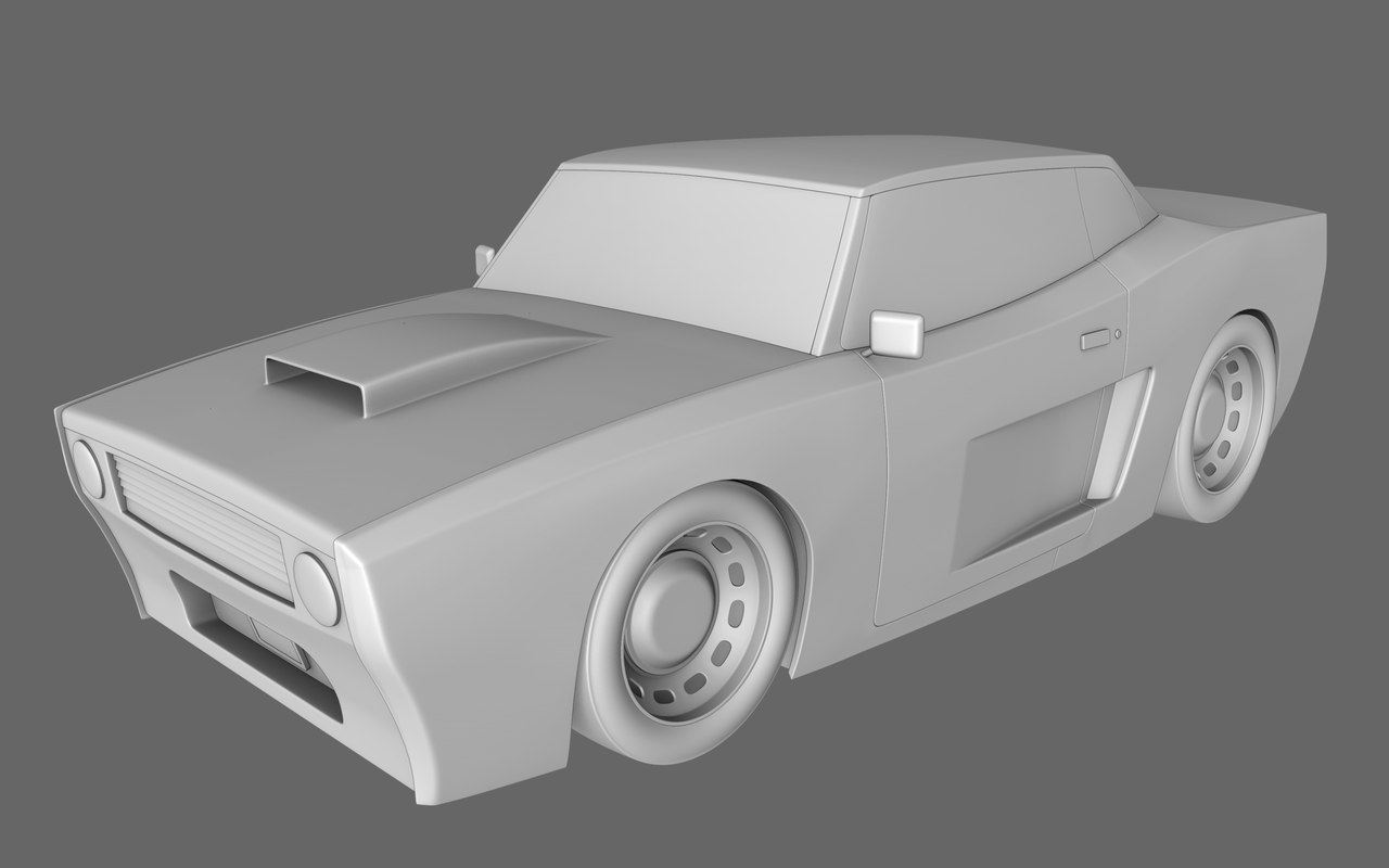 3d cartoon muscle car
