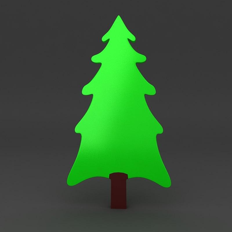 cartoon christmas tree 3d model