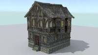 house medieval town 3d model