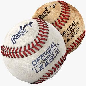 3d model of modeled baseball pack ball