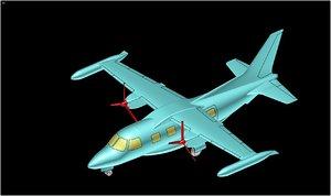 3d 3ds mitsubishi mu-2 aircraft solid