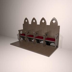 3d church chair