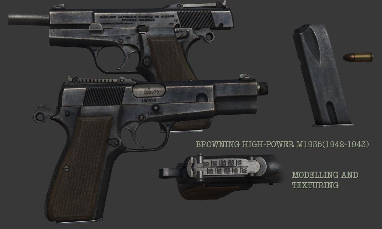 browning m1935 pistol 3d max