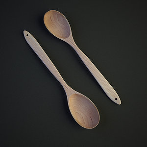 wood spoon 3d max