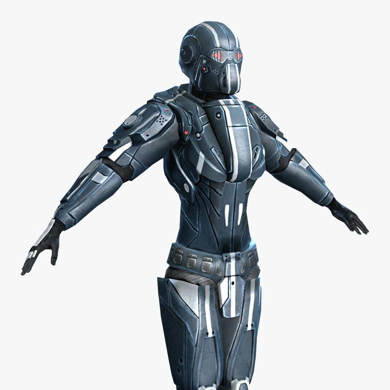 3d - armor female model
