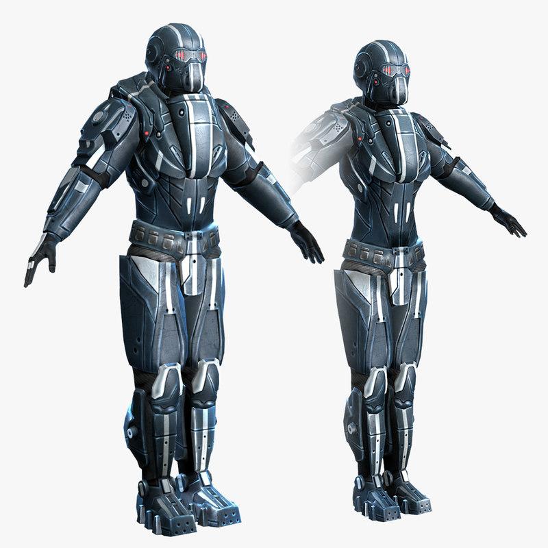 3d set sci-fi armor