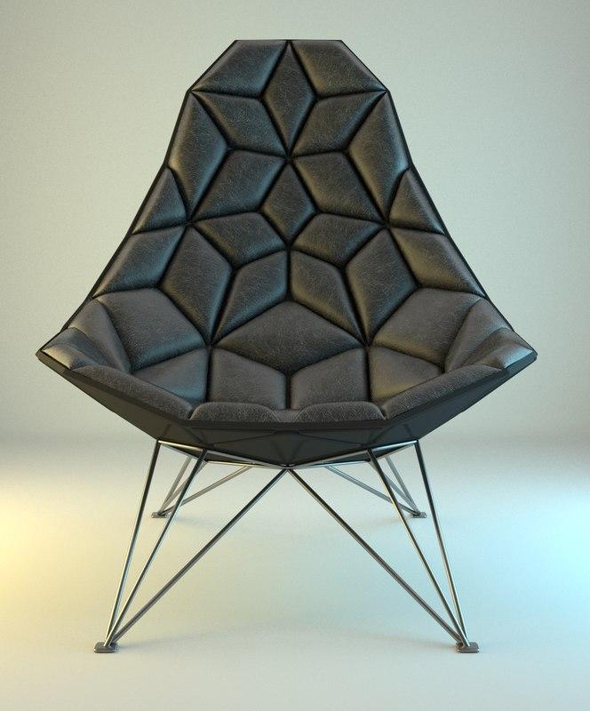 3d model modern rombic armchair