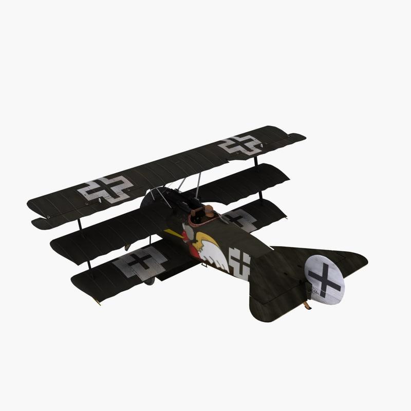 3d josef jacobs triplane aircraft model