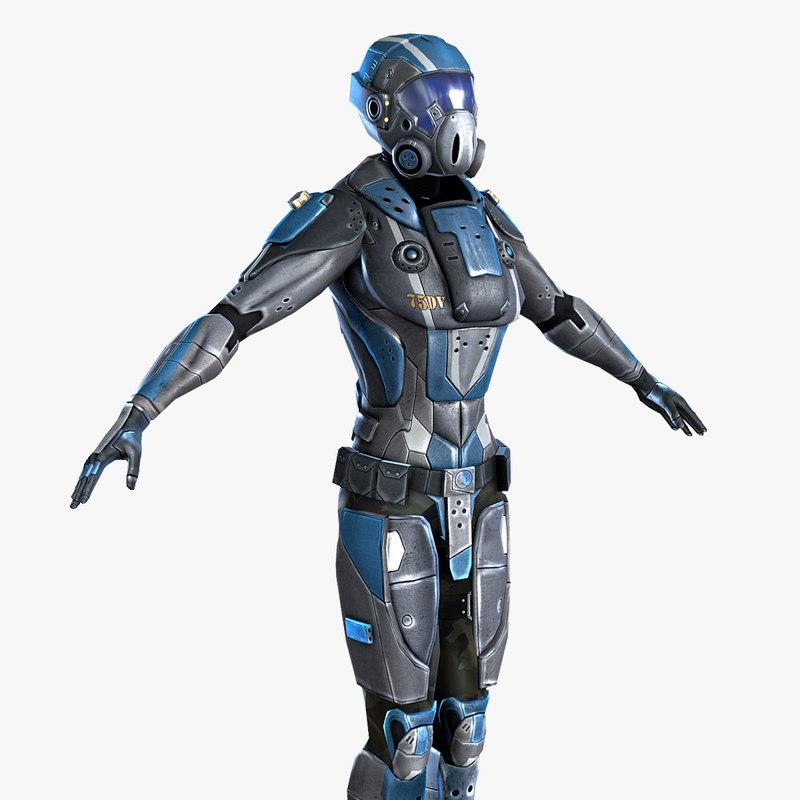 sci-fi armor female 3d model
