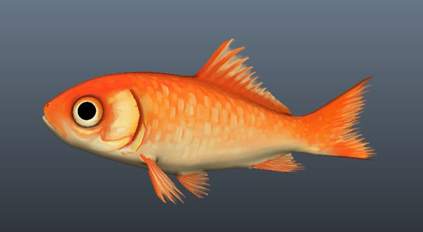 3d hand painted goldfish