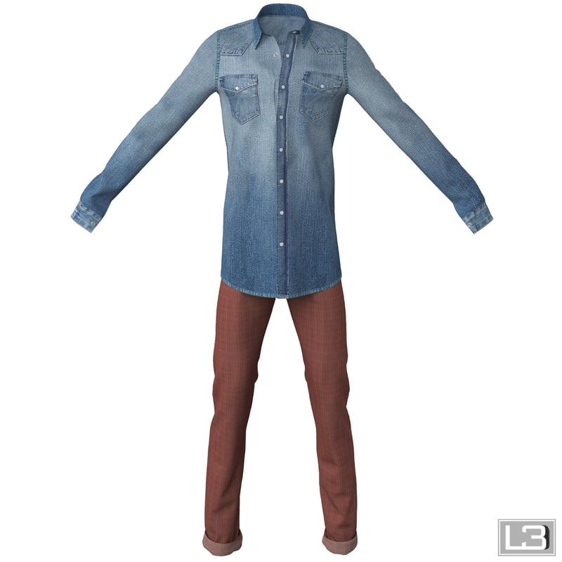 3d model of man clothes