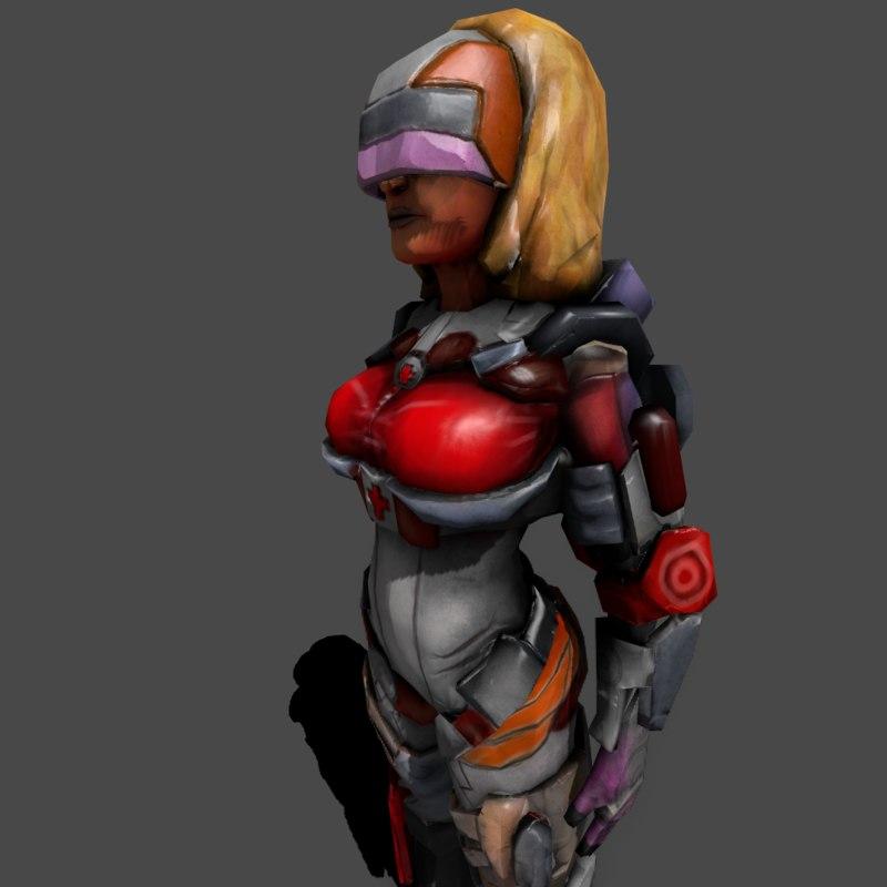 3d female medic sexy model