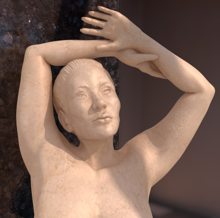 3d model female marble statue