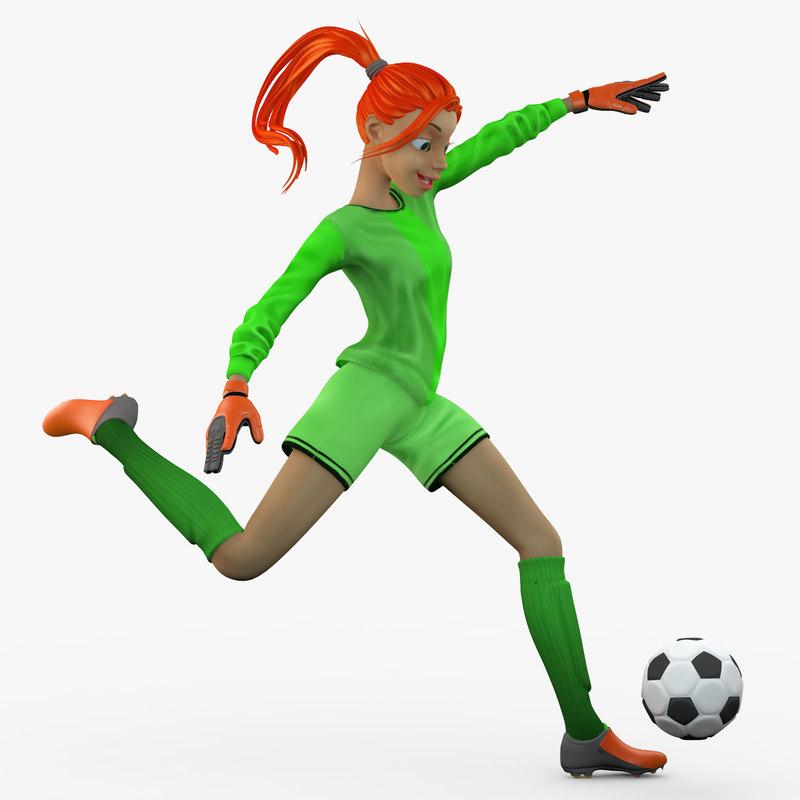 3d model female soccer player kick