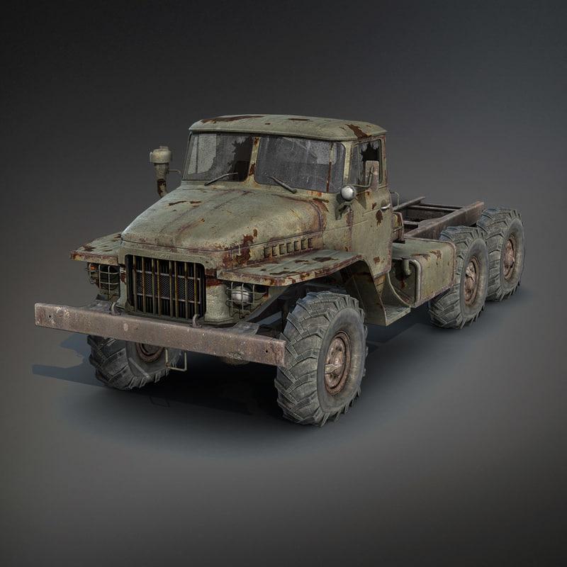 3d low-poly rusty heavy truck model