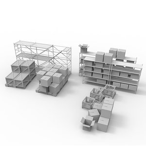 maya warehouse rack set