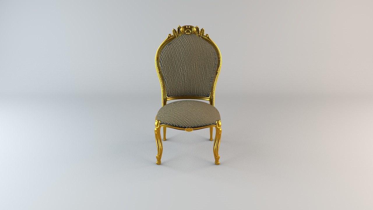 3d model barock chair