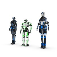 3d sci-fi robot characters pack model