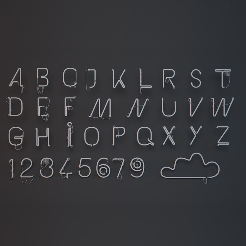 c4d neon alphabet