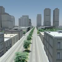 cityscape highrise office 3d model