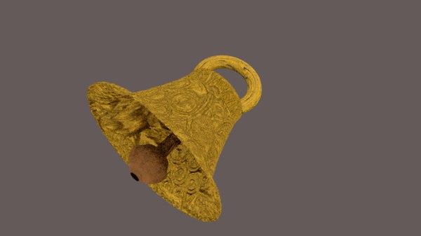3d model old golden bell