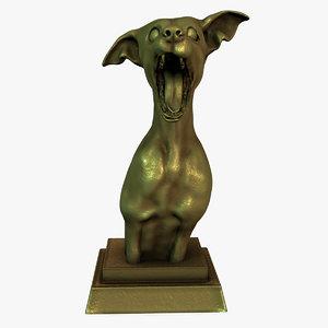 dog statue bronze 3d obj