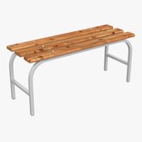 3d model wood bench l-1000