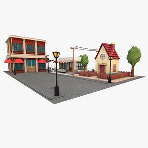 cartoon street environment 3d model