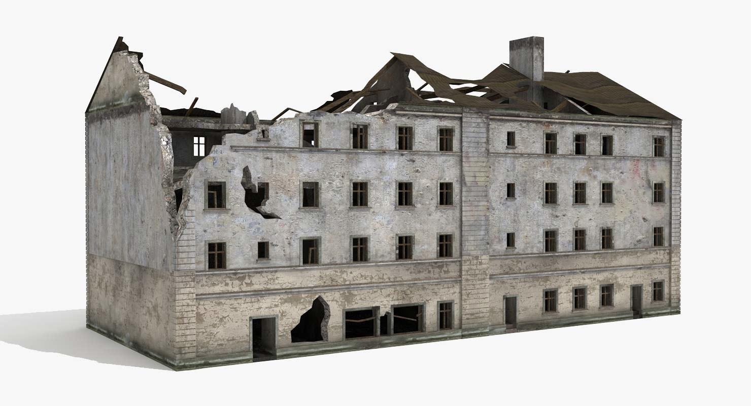 3d destroyed ruined building world war model