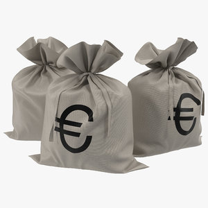 money bag euro modeled 3d 3ds