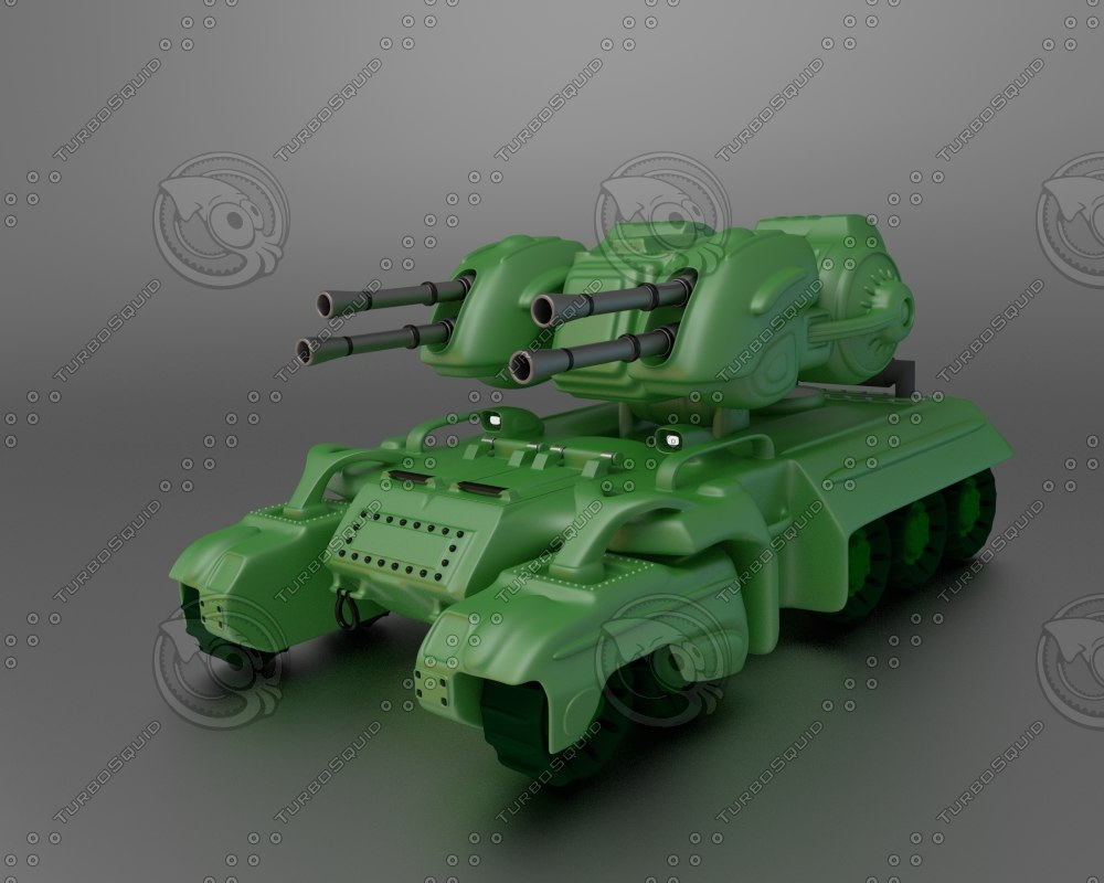 3d tank green cannon