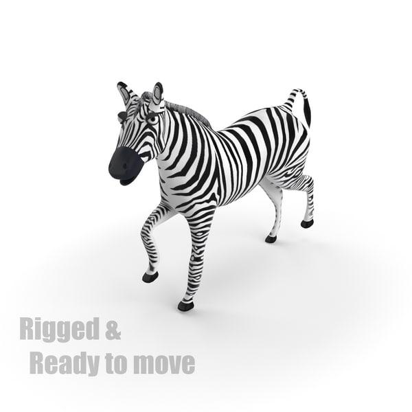 3ds max cartoon zebra rigged