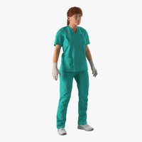 Female Caucasian Surgeon with Blood Rigged 2 3D Model