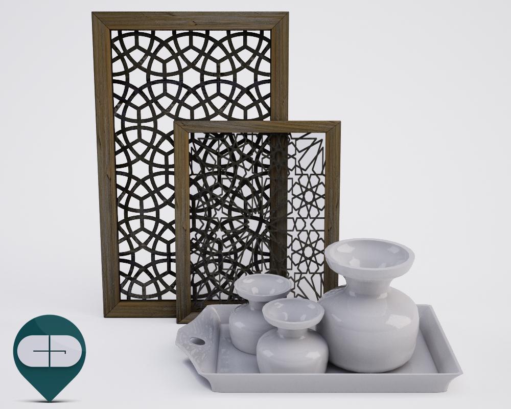 3d model tray vases frame