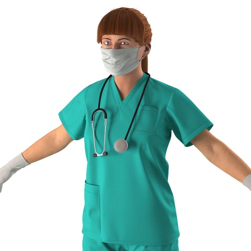3d female caucasian surgeon rigged model