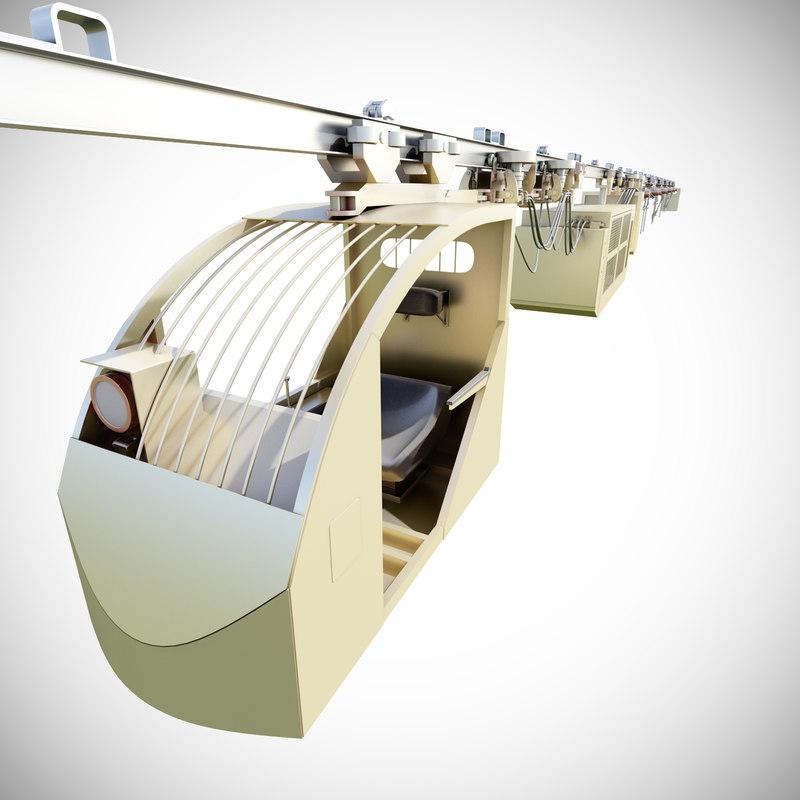 3d model of suspended railway cargo transport