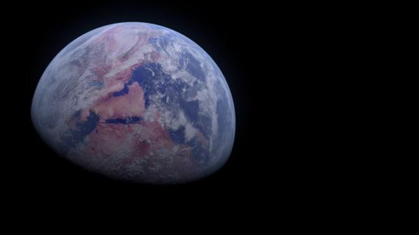 earth rotation apollo view 3d model