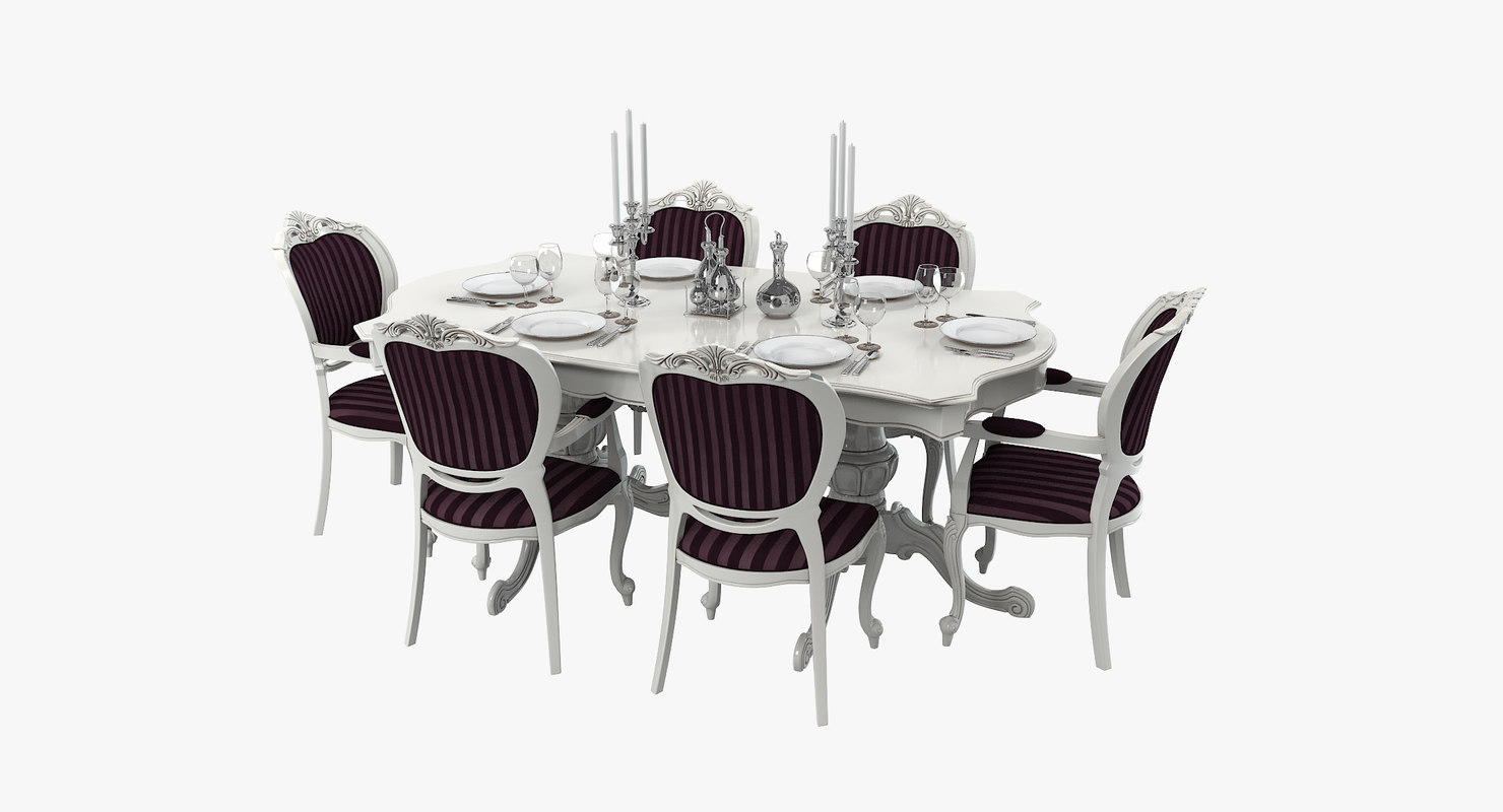 dining table set 3d model