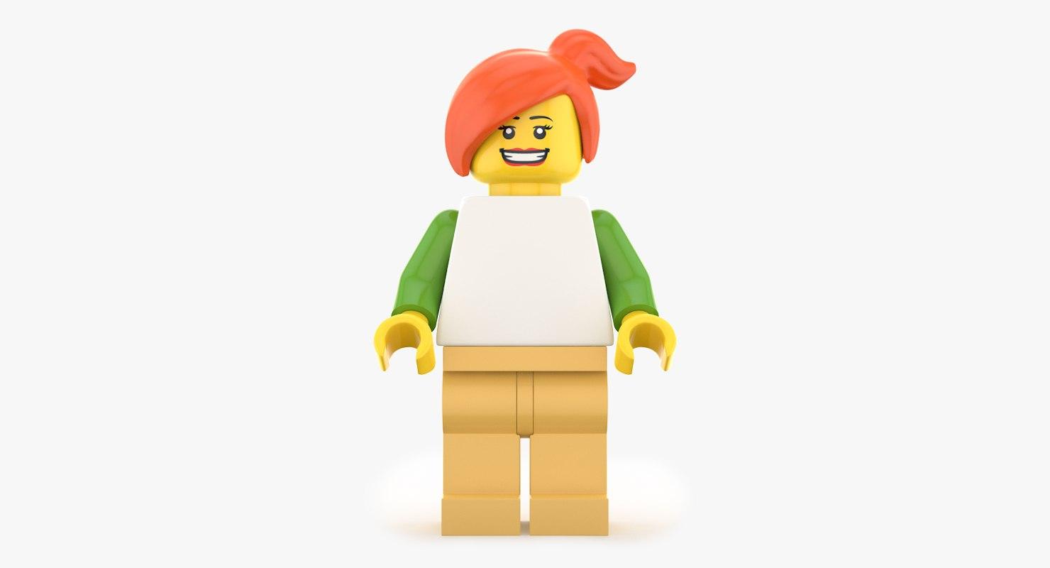 lego woman realistic 3d max