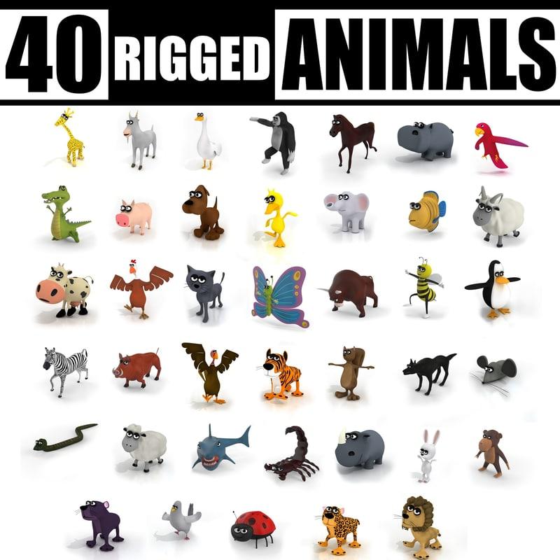 3ds max cartoon 40 animals rig