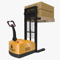 Electric Walkie Stacker with Wooden Pallet and Boxes 3D Models