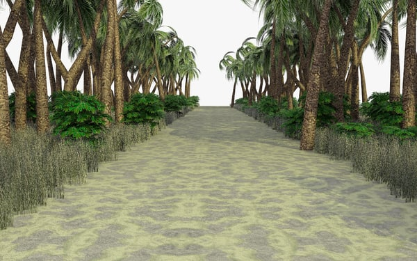 3ds max tropical path scene