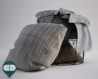 3d basket pillows model