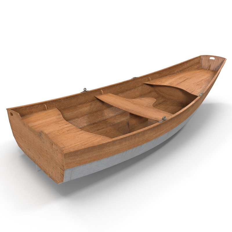 3d row boat modeled model