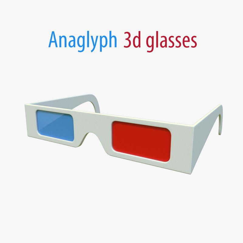 anaglyph glasses 3d obj