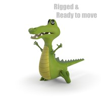 3ds max cartoon crocodile rigged