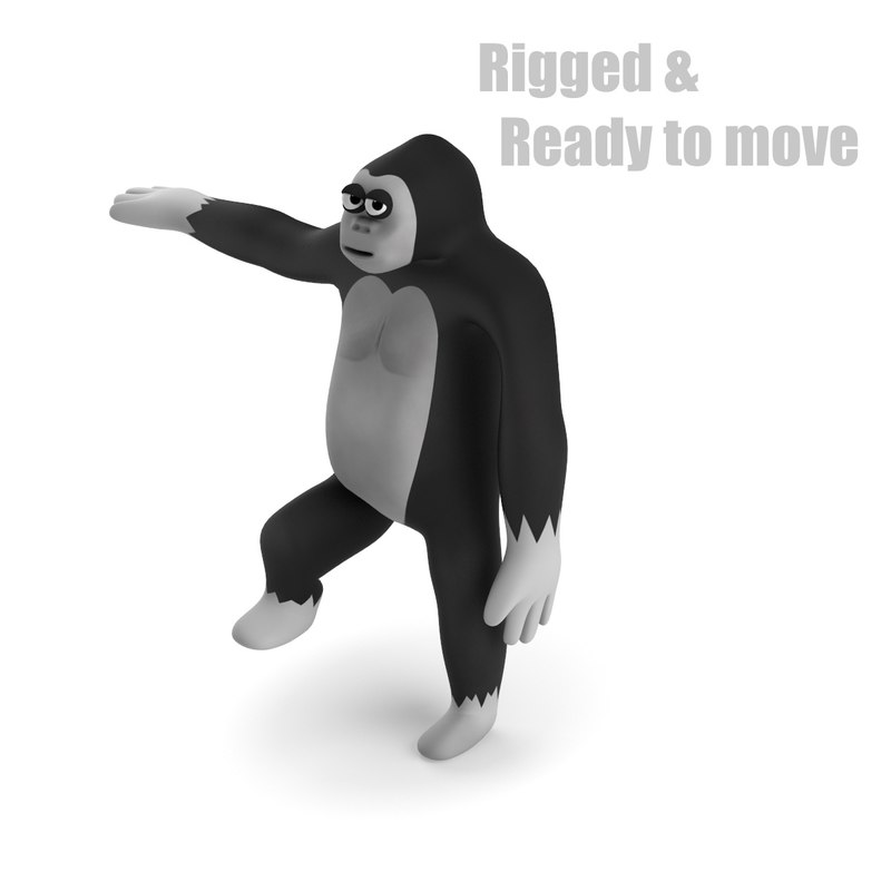 cartoon gorilla rigged 3d model